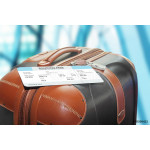 suitcase and boarding pass at the airport 64238