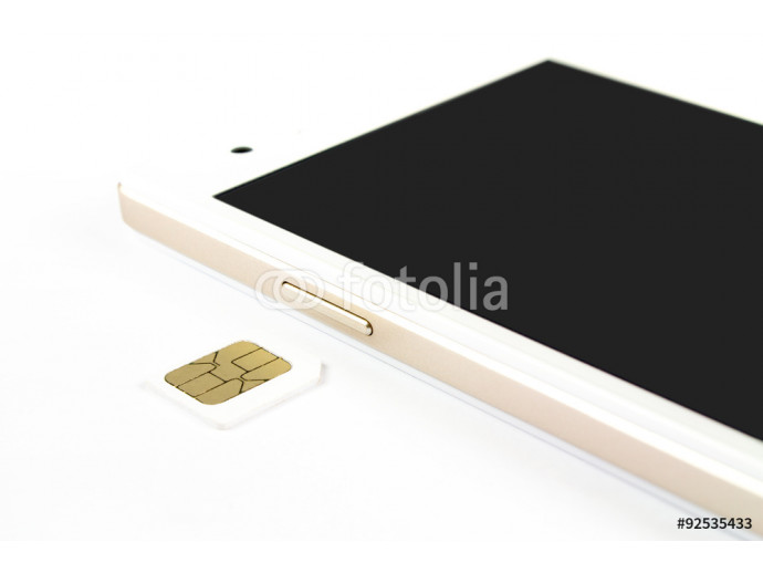 smart phone and SIM Card on white background, isolated 64238