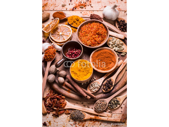 spices and herbs on wooden table. 64238