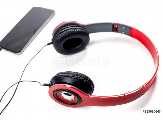 audio player with headphones isolated on white background 64238