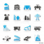 Heavy industry icons - vector icon set 64238