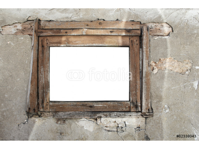Rusty old wooden window on a cracked wall background 64238