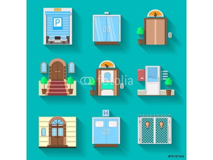 Flat icons vector collection for entrance doors 64238