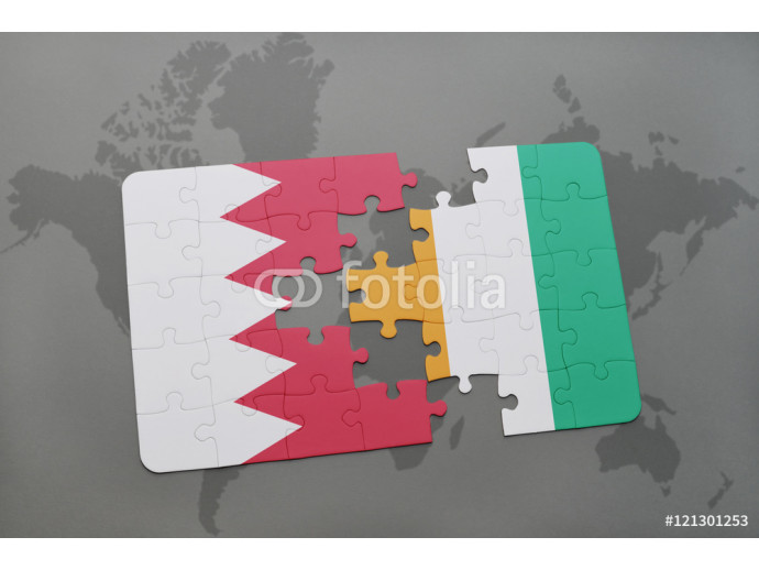 puzzle with the national flag of bahrain and cote divoire on a world map background. 64238