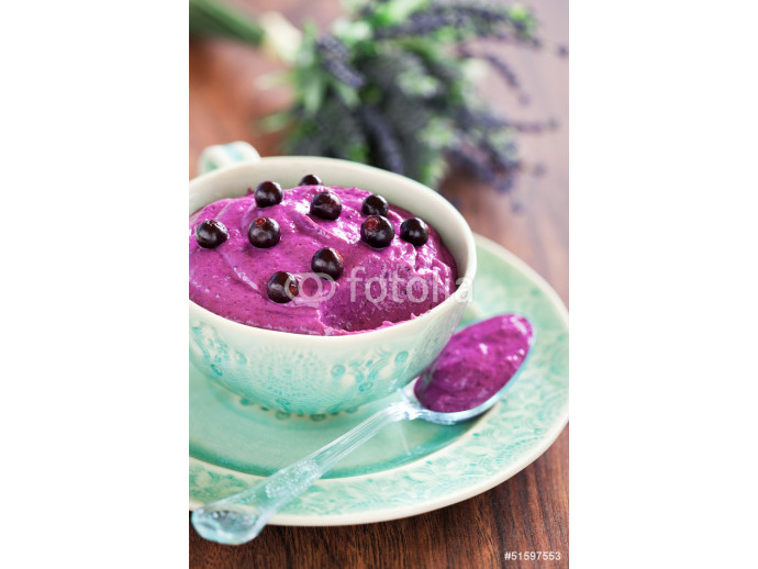 Silken tofu dessert with currants and lavender syrup 64238
