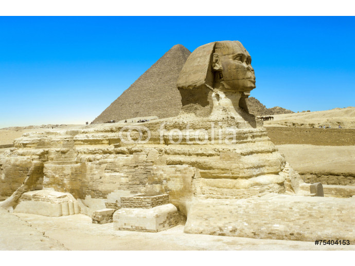 full profile of the Great Sphinx with the pyramid in the backgr 64238