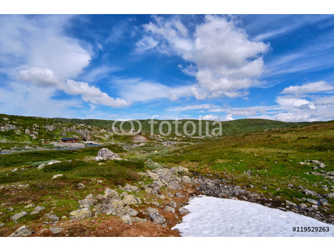 Wallpaper Norwegian mountain plain landscape with small areas of summer snow in Telemark, Norway 64238