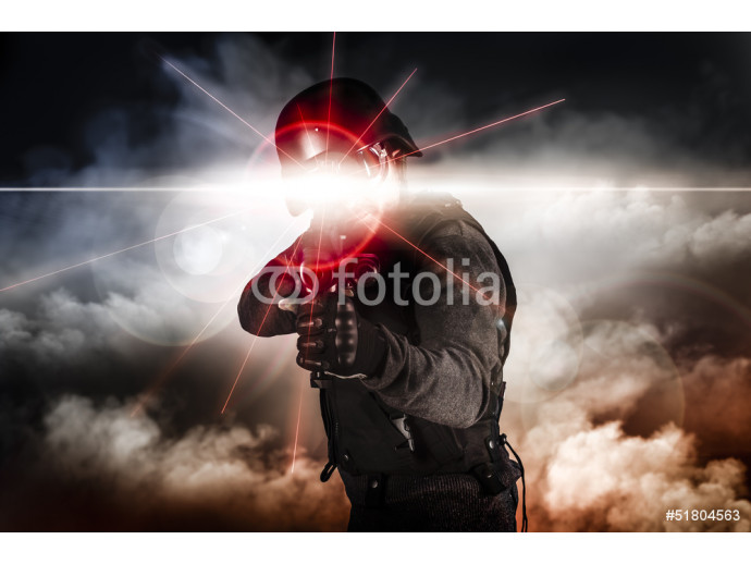 Soldier aiming assault rifle laser sight 64238