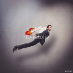 Businessman flying with rocket backpack 64238