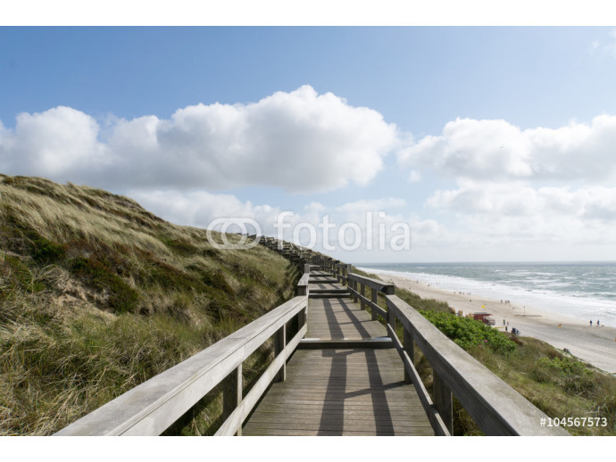 Fotomural decorativo Sylt Beach Panorama from Dunes stairways 64238