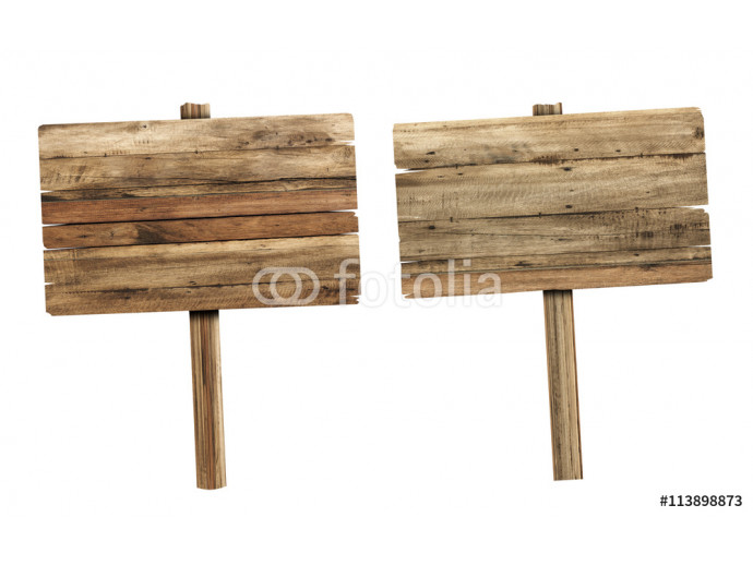 Wooden sign isolated on white. Wood old planks sign. 64238