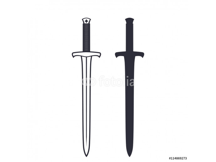medieval sword isolated on white, vector illustration 64238
