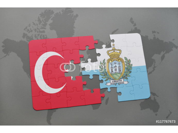 puzzle with the national flag of turkey and san marino on a world map background. 64238