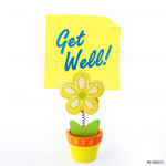 Flower note holder with yellow stick note saying get well 64238