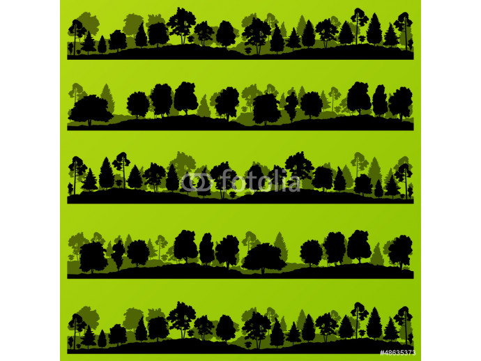 Forest trees silhouettes landscape illustration set 64238