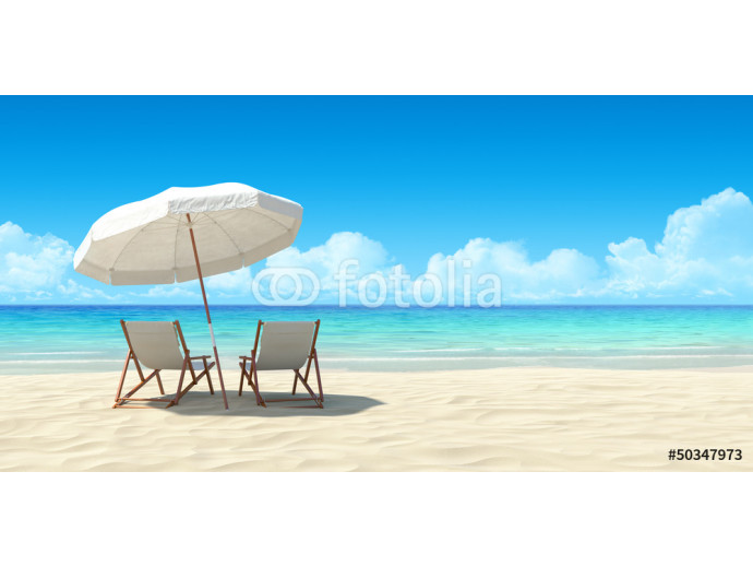 Chaise lounge and umbrella on sand beach. 64238