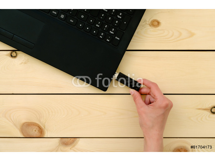 Hand inserting usb memory stick to laptop computer 64238