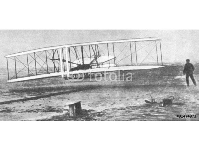First flight of Wright Flyer, world's first powered aircraft, 1903 64238