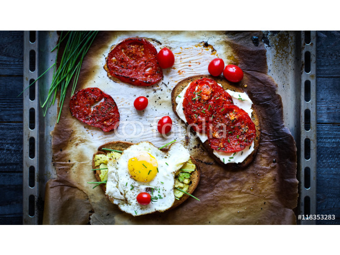 Delicious Tasty Avocado Eggs and Tomato Cheese Toasts 64238