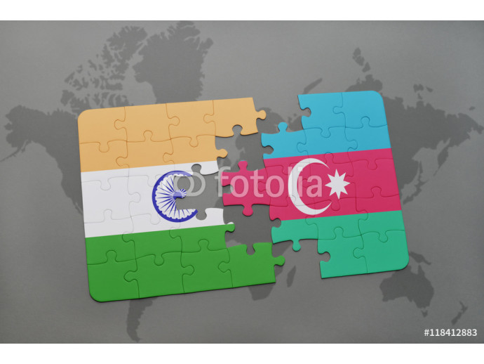 Vliestapete puzzle with the national flag of india and azerbaijan on a world map background. 64238