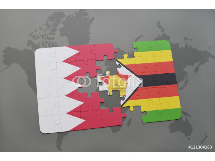 puzzle with the national flag of bahrain and zimbabwe on a world map background. 64238