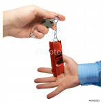 Keys in a hand of the man. Red old car. 64238