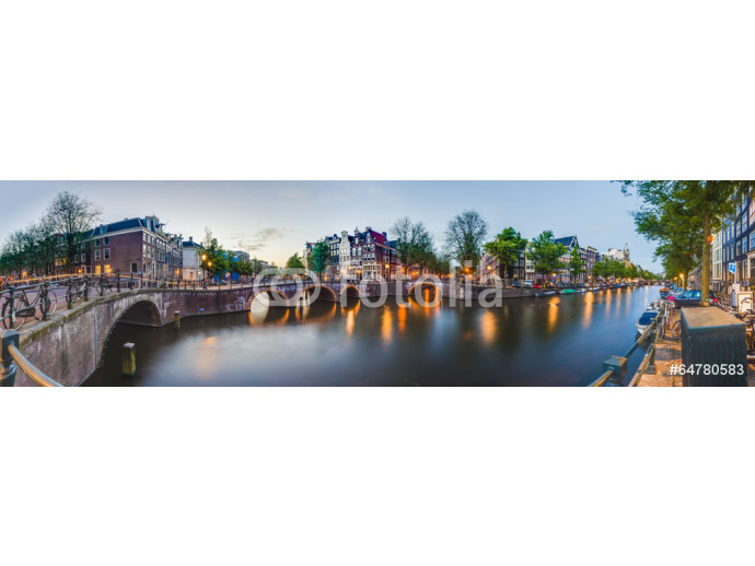 Photo wallpaper Keizersgracht canal in Amsterdam, Netherlands. 64238