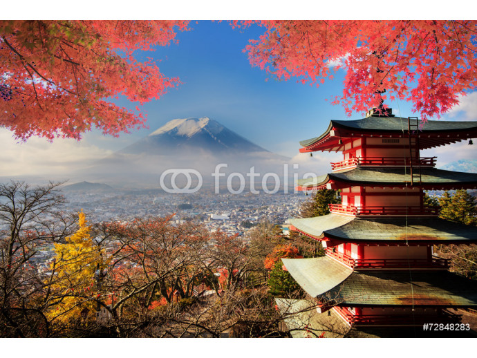 Mt. Fuji with fall colors in Japan. 64238