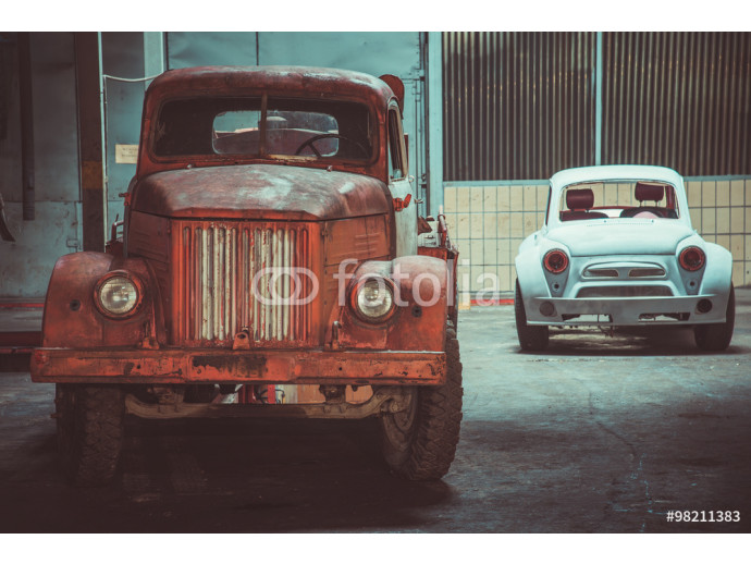 Car station. Old truck and passenger car 64238