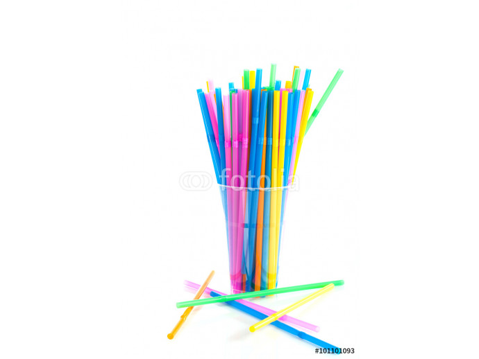 Drinking straw colored plastic tubes isolated on white background 64238