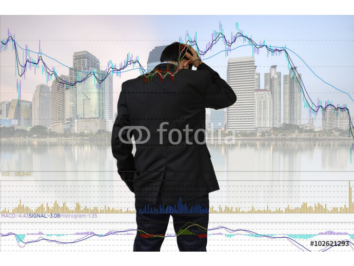 Young businessman his declining share. Bad business, economy in recession! 64238