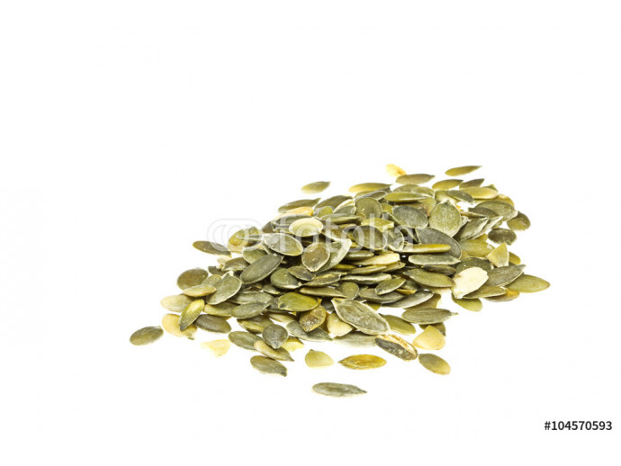 Decorticated pumpkin seeds isolated on white 64238
