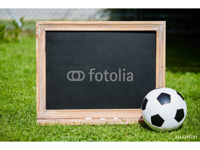 Football and blackboard on the grass of the pitch 64238