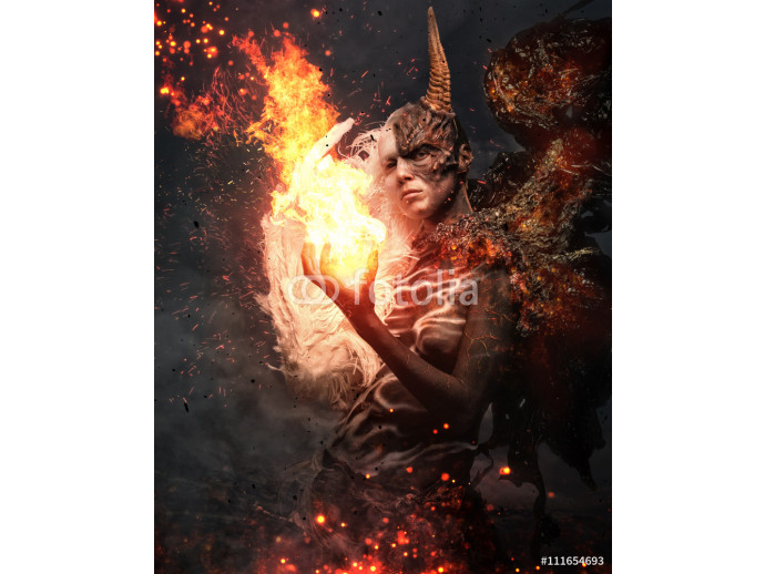 Devil woman with horn in a fire. 64238