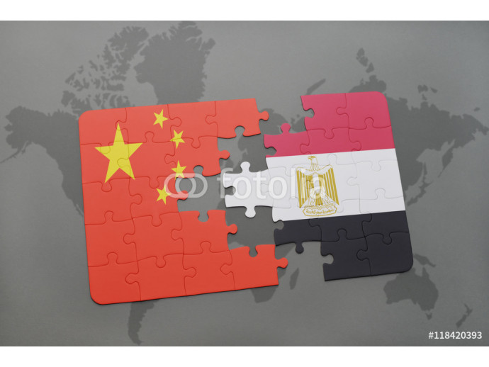 puzzle with the national flag of china and egypt on a world map background. 64238