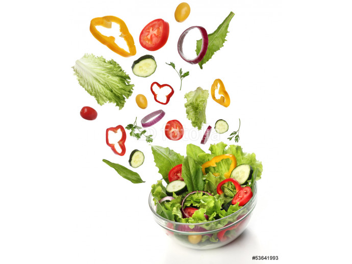 Falling fresh vegetables. Healthy salad isolated 64238