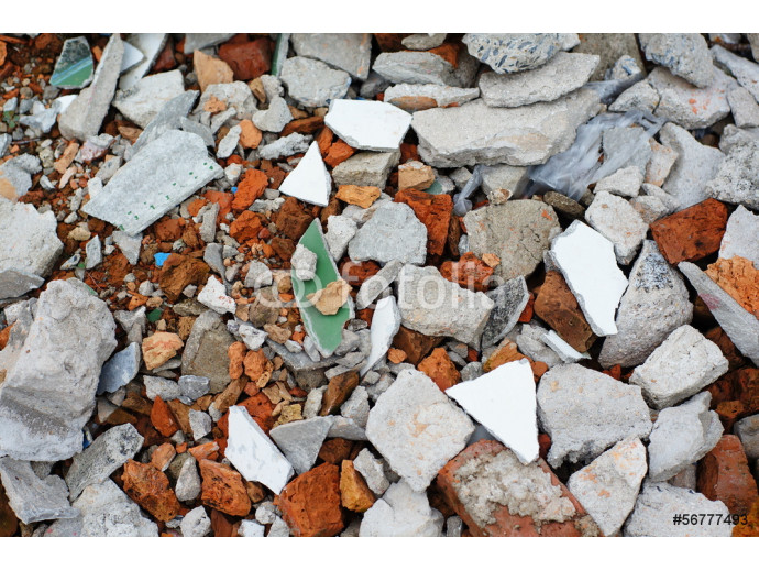 Garbage bricks heap, Mortar fragments 64238