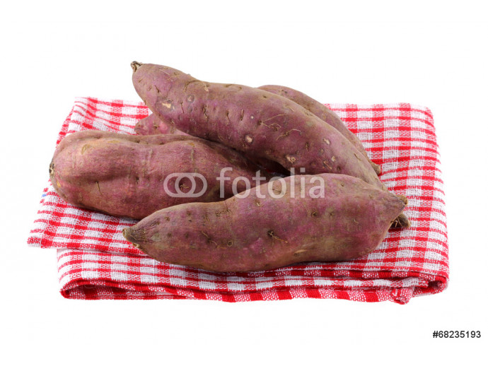 Raw Sweet Potato with dirt on skin, isolated on white 64238