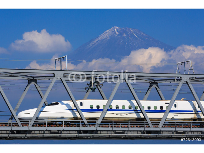 View of Mt. Fuji and train at Fujikawa, Shizuoka, Japan 64238