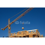 Construction crane delivers building material 64238