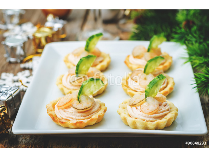 tartlets with salmon mousse, shrimp and cucumber 64238