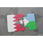 puzzle with the national flag of bahrain and djibouti on a world map background. 64238