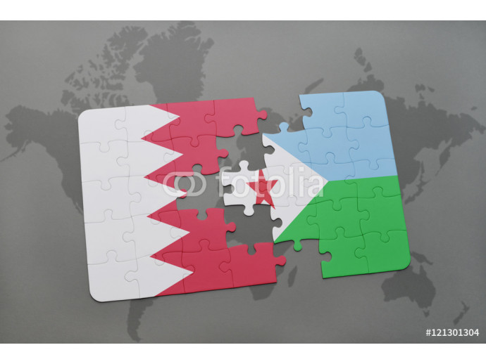 Wallpaper puzzle with the national flag of bahrain and djibouti on a world map background. 64238