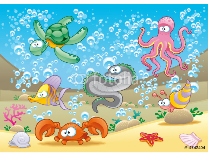 Family of marine animals in the sea 64238