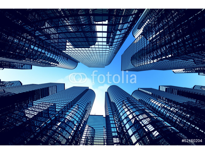 Business towers with fisheye lens effect. 64238