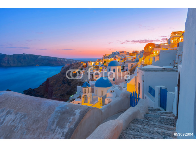 Greece Santorini island in Cyclades,  wide view of white washed 64238