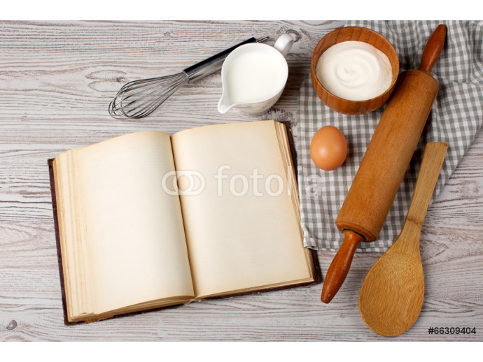 Cooking concept. Ingredients and kitchen tools with the old blan 64238
