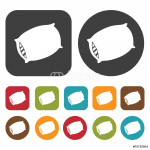 Pillow sign icon. Sleep Sign symbol icons set. Round and rectang 64238