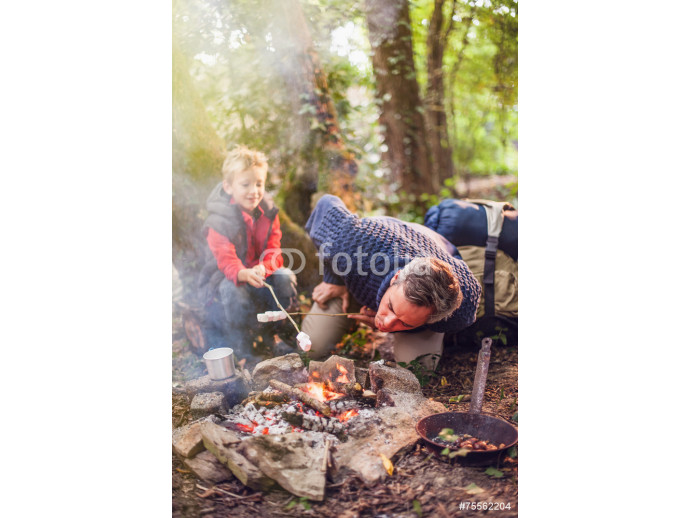 father and his son roasting marshmallows on a campfire 64238