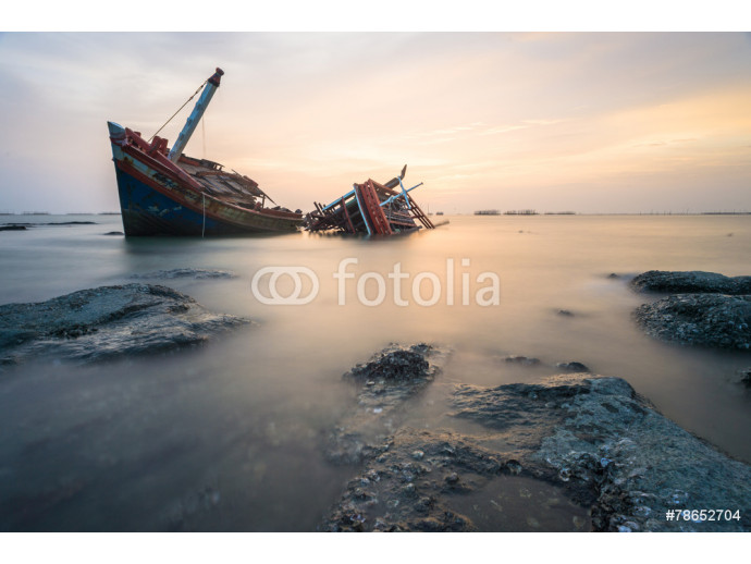 Broken ship with the sunset 64238